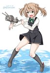 1girl brown_eyes dated double_bun dress full_body grey_footwear hair_bun kantai_collection light_brown_hair loafers long_sleeves masara_(masalucky2010) michishio_(kantai_collection) open_mouth pinafore_dress remodel_(kantai_collection) rensouhou-kun school_uniform shirt shoes short_hair short_twintails simple_background solo twintails twitter_username water white_background white_shirt