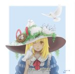 1girl animal animal_on_head artist_name bad_id bad_pixiv_id berries bird bird_on_finger bird_on_head blonde_hair blue_background blue_dress blush chinese_commentary commentary_request dated dove dress egg hat highres juliet_sleeves kana_anaberal lips long_sleeves looking_at_viewer medium_hair nest on_head one_eye_closed plant puffy_sleeves red_ribbon ribbon simple_background smile solo sun_hat touhou touhou_(pc-98) tree_branch upper_body vines yellow_eyes yingmu_tiantian