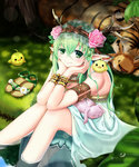 1girl animal_on_lap animal_on_shoulder armlet bare_shoulders bird bird_on_shoulder bracer bunny chick chin_rest dress elbows_on_knees elf flower grass green_eyes green_hair hair_between_eyes hair_flower hair_ornament headband highres horns long_hair nature original partially_submerged pointy_ears qixi_cui_xing sandals_removed sitting sleeping smile solo tiger water