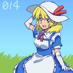 1girl :d apron arm_at_side arm_up bangs blonde_hair blue_dress blue_sky breasts day dress elbow_gloves eyebrows eyebrows_visible_through_hair frilled_apron frilled_dress frills gloves grass hat hat_ribbon kana_anaberal lifted_by_self maid_apron medium_breasts number open_mouth outdoors puffy_short_sleeves puffy_sleeves red_ribbon ribbon shikido_(khf) short_hair short_sleeves skirt_hold sky smile solo sun_hat teeth touhou touhou_(pc-98) waist_apron white_apron white_gloves white_headwear yellow_eyes