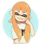 1girl bangs blunt_bangs blush_stickers cheek_pinching closed_eyes clothes_writing commentary_request cropped_torso domino_mask facing_viewer gomi_(kaiwaresan44) grin inkling inkling_(language) long_hair mask orange_hair pinching pointy_ears sharp_teeth shirt smile solo splatoon splatoon_1 t-shirt teeth tentacle_hair upper_body white_shirt
