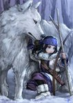 1girl 1other ainu ainu_clothes asirpa bandana bare_tree black_hair blue_eyes boots bow_(weapon) branch cape dagger earrings fingerless_gloves full_body fur_boots fur_cape gloves golden_kamuy hoop_earrings jewelry long_hair long_sleeves mitsuya one_knee retar scabbard sheath sheathed signature snow tree weapon wolf