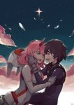1boy 1girl absurdres black_hair closed_eyes cloud couple crying crying_with_eyes_open darling_in_the_franxx daruartworks face-to-face feathers green_eyes highres hiro_(darling_in_the_franxx) horns hug long_hair looking_at_another night night_sky pilot_suit pink_hair short_hair sky star_(sky) starry_sky tears zero_two_(darling_in_the_franxx)