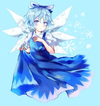 1girl blue_dress blue_eyes blue_hair bow cirno dress dress_lift hair_bow highres ice ice_wings looking_at_viewer puffy_short_sleeves puffy_sleeves shirt short_sleeves solo touhou uranaishi_(miraura) wings