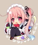 1girl :d apron bangs black_dress black_legwear blue_hair blush brown_background brown_footwear chibi commentary_request cup dress eyebrows_visible_through_hair frilled_apron frills gradient_hair hair_between_eyes hair_flaps harusame_(kantai_collection) heart holding holding_heart in_container in_cup kantai_collection loafers long_hair long_sleeves looking_at_viewer maid maid_headdress multicolored_hair open_mouth pantyhose pink_hair purple_eyes ringo_sui shoes side_ponytail sidelocks sitting smile solo teacup very_long_hair white_apron