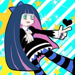 1girl :d aqua_eyes bangs black_dress blue_bow blue_hair blue_legwear blue_nails blunt_bangs bow bright_pupils chihiro_(gloomyram) diagonal-striped_background diagonal_stripes dress dutch_angle feet_out_of_frame gothic green_eyes hair_bow heart horizontal-striped_legwear horizontal_stripes index_finger_raised long_hair long_sleeves looking_to_the_side nail_polish official_style open_mouth outstretched_arms pale_skin panty_&_stocking_with_garterbelt pantyhose pink_hair pointing_finger pointing_to_the_side purple_hair purple_nails smile star starry_background stocking_(psg) straight_hair striped striped_background striped_legwear thighhighs very_long_hair