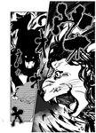 1girl comic fangs greyscale kinosaki monochrome monster monster_girl page_number scan short_hair silhouette snake_tail snout tail touhou translated usami_renko
