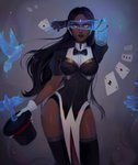 1girl absurdres artist_name between_fingers bird black_gloves black_hair black_legwear bow bowtie card card_between_fingers commentary dark_skin english_commentary fingerless_gloves forehead_jewel gloves hat highres lipstick long_hair looking_at_viewer makeup matilda_vin overwatch pelvic_curtain playing_card puffy_short_sleeves puffy_sleeves red_lipstick short_sleeves solo symmetra_(overwatch) thighhighs top_hat yellow_eyes