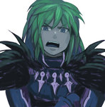 1boy armor blue_eyes green_hair ildon iwaya male open_mouth saga saga_frontier solo white_background