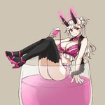 1girl alcohol bangs bikini black_legwear blush breasts character_request choker cleavage cloud_kingdom cup drinking_glass feather_boa frilled_bikini frills full_body grey_background hair_bun high_heels horn_ribbon horns in_container large_breasts long_hair looking_at_viewer minigirl original oversized_object pas_(paxiti) pink_bikini pouring red_eyes ribbon ribbon_choker side_bun smile solo swept_bangs swimsuit thighhighs white_hair wine wine_glass