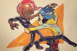 2boys asymmetrical_sleeves black_pants black_shirt blue_hair boots catching cokeshi dark_skin dark_skinned_male green_eyes highres inkling jacket looking_at_another male_focus marker_(medium) midriff mohawk multiple_boys octarian octoling open_mouth pants red_hair shirt signature spiked_hair splatoon splatoon_2 splatoon_2:_octo_expansion squidbeak_splatoon sweatdrop tentacle_hair traditional_media yaoi yellow_jacket