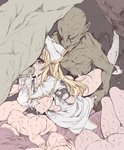 absurdres blonde_hair breasts cave clothed_female_nude_male corpse crying crying_with_eyes_open cum doggystyle double_penetration fellatio flat_color goblin goblin_slayer! green_skin group_sex highres irrumatio medium_breasts multiple_boys multiple_girls nipples nude one_breast_out oral panties panties_around_one_leg penis priestess_(goblin_slayer!) rape rough_sex sex solo_focus spitroast sweat tears torn_clothes underwear wrist_grab yuiganaoha