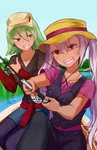 2girls alternate_costume artist_name boat chocojax commentary dark_skin day fire_emblem fire_emblem_heroes fishing_rod green_hair hat highres holding jewelry laegjarn_(fire_emblem_heroes) laevateinn_(fire_emblem_heroes) long_hair long_sleeves multiple_girls necklace open_mouth outdoors pink_hair red_eyes short_hair short_sleeves siblings sisters sitting sweat thumbs_up twintails watercraft