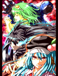 3girls animal_ears black_rock_shooter black_rock_shooter_(character) blue_hair closed_eyes crossover doraemon doraemon_(character) food fruit glowing glowing_eye goggles goggles_on_head green_hair gumi hands_clasped hat highres hinanawi_tenshi kemonomimi_mode long_hair multiple_girls norainu_(101) open_mouth peach pillarboxed red_eyes touhou vocaloid