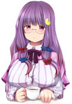 1girl bangs bespectacled blunt_bangs blush breasts capelet coffee covered_nipples crescent crescent_hair_ornament cup expressionless fingernails glasses hair_ornament hair_ribbon head_tilt holding holding_cup kozue_akari large_breasts long_hair long_sleeves looking_at_viewer no_hat patchouli_knowledge purple-framed_glasses purple_eyes purple_hair ribbon semi-rimless_glasses shirt simple_background solo steam striped striped_shirt touhou tress_ribbon under-rim_glasses upper_body white_background