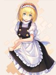 1girl alice_margatroid apron bangs black_dress blonde_hair blue_eyes blush breasts commentary_request cosplay cowboy_shot dress eyebrows_visible_through_hair flying_sweatdrops frilled_apron frilled_hairband frills grey_background hair_between_eyes hairband head_tilt highres kirisame_marisa kirisame_marisa_(cosplay) lolita_hairband looking_at_viewer medium_breasts open_mouth petticoat puffy_short_sleeves puffy_sleeves red_hairband rin_falcon shirt short_hair short_sleeves simple_background skirt_hold solo standing touhou waist_apron white_apron white_shirt