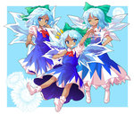 1girl :d ^_^ alphes_(style) blue_eyes bow cirno closed_eyes dairi dark_skin dress flower grin hair_bow hidden_star_in_four_seasons ice ice_wings long_dress multiple_persona open_mouth parody smile socks style_parody tachi-e tan tanned_cirno touhou wings