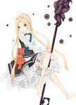 1girl abigail_williams_(fate/grand_order) absurdres bangs barefoot black_dress blonde_hair bloomers blue_eyes blush bow braid butterfly_hair_ornament closed_mouth commentary_request dress fate/grand_order fate_(series) forehead hair_ornament heart heroic_spirit_chaldea_park_outfit highres long_hair long_sleeves looking_at_viewer orange_bow parted_bangs shirt sidelocks simple_background sleeveless sleeveless_dress sleeves_past_fingers sleeves_past_wrists smile solo stuffed_animal stuffed_toy teddy_bear tentacles underwear very_long_hair white_background white_bloomers white_shirt yukaa