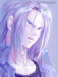 1boy black_shirt blue_eyes close-up dragon_ball dragon_ball_z face frown jacket kim_yura_(goddess_mechanic) long_hair looking_away male_focus open_mouth purple_background purple_hair serious shirt simple_background trunks_(dragon_ball) twitter_username