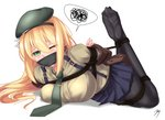 arms_behind_back bdsm beret black_legwear blonde_hair blue_skirt bondage bound breasts brown_jacket commentary_request eyebrows_visible_through_hair eyes_visible_through_hair gag girls_frontline green_eyes green_hat hair_between_eyes hairband hat jacket jinhw2004 large_breasts long_hair lying m1_garand_(girls_frontline) necktie on_stomach one_eye_closed pantyhose pleated_skirt rope signature simple_background skirt soles solo speech_bubble spoken_squiggle squiggle suspender_skirt suspenders tied_up uniform white_background