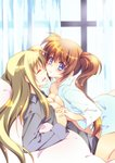 2girls bed blonde_hair blue_eyes blush breasts brown_hair cleavage closed_eyes couple eye_contact eyebrows_visible_through_hair face-to-face fate_testarossa happy holding_hands interlocked_fingers long_hair long_sleeves looking_at_another lying lyrical_nanoha mahou_shoujo_lyrical_nanoha_strikers multiple_girls open_clothes open_shirt parted_lips shirt side_ponytail smile takamachi_nanoha tama_two_(fukuya) white_shirt window yuri