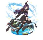 1girl arm_up armor black_footwear boots breastplate detached_sleeves faux_figurine floating_hair from_side gauntlets grin holding holding_weapon knee_boots leotard long_hair looking_at_viewer one_leg_raised pointy_ears polearm purple_hair purple_leotard red_eyes simple_background smile solo sword_art_online thigh_strap very_long_hair weapon white_background yuuki_(sao)