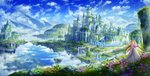 1girl absurdres album_cover bangs blonde_hair blue_flower blue_sky bouquet brown_wings castle cloud cloudy_sky commentary_request cover day dragon_wings dress fantasy field floating_island flower flower_field highres holding holding_bouquet huge_filesize kazuki_seto long_hair looking_away looking_to_the_side moss original outdoors pillar purple_flower red_eyes scenery sky solo tree very_long_hair water white_dress wide_shot wings yellow_flower