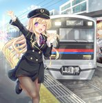 1girl ;d arm_up ascot bangs black_footwear black_hat black_jacket black_skirt blonde_hair blue_sky blush brown_legwear building cloud collared_shirt commentary_request day eyebrows_visible_through_hair ground_vehicle hair_between_eyes hand_up hat high_heels highres jacket long_hair long_sleeves looking_at_viewer nagare_yoshimi one_eye_closed open_mouth original outdoors outstretched_arm overhead_line pantyhose peaked_cap purple_eyes railroad_tracks shirt shoes skirt sky smile solo standing standing_on_one_leg striped_neckwear train train_conductor train_station train_station_platform uniform very_long_hair white_shirt