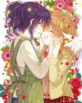 2girls :d ^_^ anemone_(flower) angel_wings apron bad_id bad_pixiv_id bangs blush bow bowtie brown_hair closed_eyes commentary_request cover cover_page face-to-face flower glasses green_eyes halo hands_on_another's_cheeks hands_on_another's_face holding_hands itou_hachi long_sleeves multiple_girls open_mouth petals ponytail purple_hair red_flower red_rose rose sayurisan_no_imouto_ha_tenshi school_uniform sidelocks skirt smile star tears wings yuri