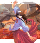 1girl autumn autumn_leaves brown_eyes brown_hair cowboy_shot falling_leaves flat_chest from_side hairband leaf letterboxed long_hair long_skirt looking_down looking_to_the_side morii_shizuki nature neck_ribbon outstretched_arms pleated_skirt pond puffy_sleeves red_neckwear red_ribbon red_skirt ribbon rock shirt skirt sleeves_past_elbows solo spread_arms spread_fingers standing toono_akiha transparent tree tsukihime turtleneck very_long_hair water white_shirt