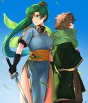 1boy 1girl earrings fingerless_gloves fire_emblem fire_emblem:_rekka_no_ken gloves green_eyes green_hair high_ponytail jewelry long_hair looking_at_viewer lyndis_(fire_emblem) ormille ponytail side_slit smile tactician_(fire_emblem)