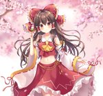 1girl ascot bangs bare_shoulders blush bow branch breasts brown_hair cherry_blossoms closed_mouth collarbone commentary_request cowboy_shot crop_top dango detached_sleeves eyebrows_visible_through_hair food frilled_bow frilled_shirt_collar frilled_skirt frills gradient gradient_background hair_between_eyes hair_bow hair_tubes hakurei_reimu holding holding_food long_hair long_skirt long_sleeves mayo_(miyusa) medium_breasts midriff navel petals petticoat pink_background red_bow red_eyes red_ribbon red_shirt red_skirt revision ribbon ribbon-trimmed_sleeves ribbon_trim sanshoku_dango shirt sidelocks skirt skirt_set smile solo spring_(season) standing stomach tareme tassel touhou wagashi white_background white_sleeves wide_sleeves yellow_neckwear
