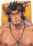 1boy bara beard black_hair blush chest facial_hair fang gesusuzume horns jewelry looking_at_viewer male_focus muscle necklace nipples pectorals red_eyes scar simple_background solo sweatdrop takemaru_(tokyo_houkago_summoners) teeth tokyo_houkago_summoners