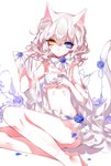 1girl absurdres animal_ears artist_name bandeau bangs bare_arms bare_legs bare_shoulders blue_eyes blue_flower blue_nails blue_rose bow bowtie cat_ears cat_tail crescent eyebrows_visible_through_hair eyelashes feet_out_of_frame flower hair_between_eyes hand_up heterochromia highres looking_at_viewer nail_polish navel original petals revision rose shawl sheya short_hair signature silver_hair simple_background sitting solo stomach tail thighs underwear underwear_only white_background white_bow white_neckwear yellow_eyes