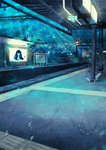 absurdres ad aqua_theme black_hair bubble building cityscape closed_eyes commentary_request fish glowing highres long_hair no_humans no_mouth no_nose original plant power_lines scenery shou_(hanasakukoroni) sign train_station underwater