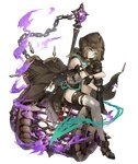 1girl aqua_eyes asymmetrical_legwear brown_hair chain full_body gretel_(sinoalice) hammer hansel_(sinoalice) hood huge_weapon jino leg_hug long_coat looking_at_viewer official_art sinoalice sitting solo thighhighs torn_clothes torn_thighhighs transparent_background weapon