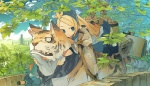1girl akitsu_taira animal blonde_hair blue_eyes cat highres izumi_luna_(akitsu_taira) leaf long_hair original riding skirt solo thighhighs tree
