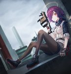 1girl absurdres arknights black_footwear black_legwear breasts brown_eyes city commentary_request day exusiai_(arknights) gun hair_over_one_eye halo highres holding holding_gun holding_weapon ildy jacket kriss_vector looking_at_viewer outdoors pantyhose purple_hair shoes short_hair short_sleeves shorts sitting small_breasts smile solo submachine_gun weapon white_jacket