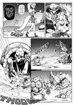1girl ass blood blood_from_mouth boulder bowsette bracelet collar comic commentary crown debris english_commentary english_text greyscale highres jewelry left-to-right_manga mario_(series) monochrome motion_lines new_super_mario_bros._u_deluxe ponytail sack skeleton skirt skirt_lift spiked_armlet spiked_collar spiked_shell spikes super_crown tail tail_grab throwing tony_kuusisto turtle