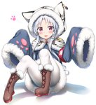 1girl :3 :d absurdres animal_ears animal_hood animal_print armband azur_lane bangs blue_coat blush boots brown_footwear changchun_(azur_lane) cross-laced_footwear eyebrows_visible_through_hair full_body fur-trimmed_boots fur-trimmed_sleeves fur_trim hair_ornament highres hood hood_up hooded_capelet lace-up_boots long_hair long_sleeves looking_at_viewer nedia_(nedia_region) open_mouth pantyhose parted_bangs purple_eyes red_eyes sidelocks silver_hair sitting sleeves_past_fingers sleeves_past_wrists smile solo tiger_ears tiger_hood tiger_print very_long_hair white_background white_legwear wide_sleeves