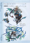 1girl absurdres armor armored_boots bangs boots breastplate character_name chibi dark_skin dragon dress full_body gloves granblue_fantasy highres holding holding_sword holding_weapon long_hair looking_at_viewer looking_back minaba_hideo official_art open_mouth red_eyes ribbon scan shield short_dress simple_background sleeveless smile standing sword thighhighs weapon white_hair zettai_ryouiki zooey_(granblue_fantasy)