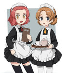 2girls alternate_costume apron ascot bangs black_dress black_legwear blue_eyes braid brown_eyes collared_dress commentary cowboy_shot cup dress enmaided eyebrows_visible_through_hair girls_und_panzer grey_background hand_on_hip holding long_sleeves looking_at_viewer maid maid_apron maid_headdress menu multiple_girls nogitatsu open_mouth orange_hair orange_pekoe outside_border pantyhose parted_bangs pleated_dress red_hair red_neckwear rosehip saucer short_dress short_hair sketch smile standing teacup teapot thighhighs tied_hair tray twin_braids white_legwear yellow_neckwear