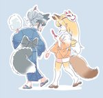 2girls adapted_costume alternate_hairstyle animal_ears check_commentary commentary_request cotton_candy ezo_red_fox_(kemono_friends) fox_ears fox_tail full_body holding_hands japanese_clothes kemono_friends kimono mitsumoto_jouji multicolored_hair multiple_girls orange_hair sandals silver_fox_(kemono_friends) silver_hair tail thighhighs white_hair yukata