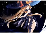 1girl abigail_williams_(fate/grand_order) black_bow black_hat black_legwear black_panties blonde_hair bow commentary_request eyebrows_visible_through_hair fate/grand_order fate_(series) hat hat_bow highres holding holding_key key keyhole long_hair looking_to_the_side orange_bow oversized_object panties red_eyes revealing_clothes single_thighhigh smile solo stuffed_animal stuffed_toy teddy_bear thighhighs topless underwear very_long_hair witch_hat