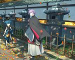 2boys autumn_leaves bandages blue_eyes blue_hair commentary fence grass hand_up kasen_kanesada leaf long_sleeves looking_at_viewer looking_back male_focus maple_leaf multiple_boys outdoors parted_lips pippi_(pixiv_1922055) purple_hair robe sandals sayo_samonji sleeves_past_wrists standing stone_lantern touken_ranbu wide_sleeves