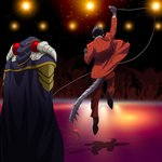 2boys ainz_ooal_gown arm_up black_footwear black_gloves black_hair cape demiurge gloves holding holding_microphone jacket jumping k-ta microphone multiple_boys overlord_(maruyama) pants purple_cape red_jacket red_pants stage tail vertical-striped_jacket