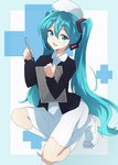 1girl aqua_eyes aqua_hair clipboard commentary_request dress fang full_body hat hatsune_miku headset highres kneeling long_hair looking_at_viewer nel-c nurse nurse_cap open_mouth solo twintails very_long_hair vocaloid