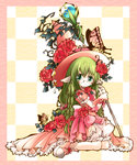 1girl animal_ears bug butterfly colored dress flower frills glasses green_eyes green_hair hat insect long_hair looking_at_viewer original rose sitting solo witch_hat yume_shokunin