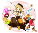 1girl 1st-mn :p blonde_hair blush boots bow candy charlotte_(madoka_magica) checkerboard_cookie cookie detached_sleeves drill_hair fingerless_gloves food fruit gloves hat lollipop long_hair magical_girl mahou_shoujo_madoka_magica pudding sitting smile strawberry sweets swirl_lollipop thighhighs tomoe_mami tongue tongue_out twin_drills twintails yellow_eyes