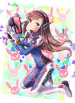 1girl 2016 :3 acronym alternate_eye_color artist_name bangs blush bodysuit boots bracer breasts brown_hair bunny_print charm_(object) closed_mouth covered_navel d.va_(overwatch) dated eyebrows eyebrows_visible_through_hair facepaint facial_mark full_body gloves gun handgun hands_up headphones holding holding_gun holding_weapon kneeling long_hair long_sleeves looking_at_viewer medium_breasts overwatch pauldrons pilot_suit purple_eyes ribbed_bodysuit shoulder_pads skin_tight smile solo thigh_boots thigh_strap thighhighs turtleneck weapon whisker_markings white_boots white_gloves zenyu